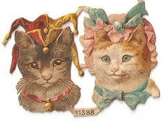 Victorian Die Cut Joker Clown Circus Cat