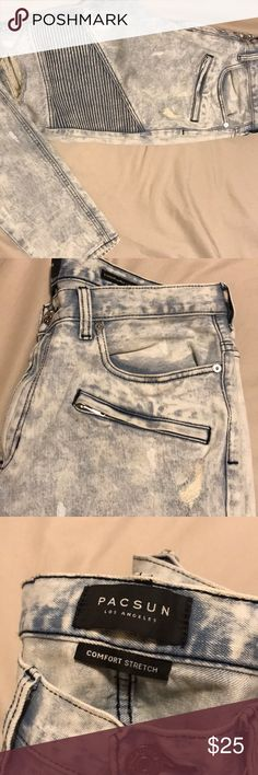 A pair of stacked skinny jeans with motto design. A sick wash with paint splatter and destruction. Wore these once, I'm bigger dude and they didn't agree with my legs! PacSun Jeans Skinny