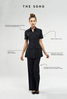 Noel Asmar Uniforms, the Soho in Black. Signature Spa, Beauty Uniforms, Spa Uniform, Soho, Timeless Fashion, Fitness Fashion, Classic Style, Peplum Dress, Short Sleeves