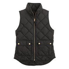 J. Crew: excursion quilted vest in black.