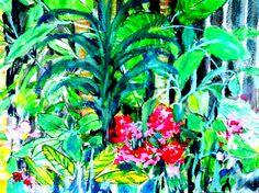 Garden full of Plants Artwork by Artist Sharon Wood  WATERCOLOUR ON 300 GSM PAPER  swoody@internode.on.net