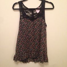 Floral & Lace Tank Love it because it can be dressed up or down - sophisticated look with heart neckline, black lace, and button down back. Somewhat see through. Hardly worn. Fits S/M. (Not FP but similar style) Free People Tops Tank Tops