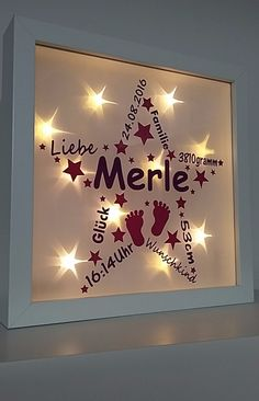 Beautiful illuminated picture frame with desired name and birth dates of the .:separator:Beautiful illuminated picture frame with desired name and birth dates of the . Christening Gifts, Baby Outfits Newborn, Great Memories, Girl Room, Baby Room, Trendy Baby, Diy Art, Gifts For Kids, Picture Frames