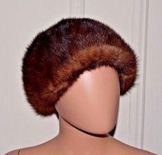 BELMAR Vintage Genuine Natural Real Brown Mink Fur Fashion Hat Ladies Women's #Belmar #BaggyBeanie