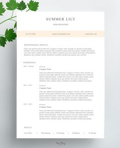 Resume Template Pack  Minimalist  Clean  Ms Word  Minimalist