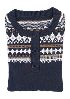 #Sweater with classic #jaquard pattern.