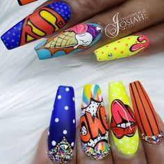 """""""your success is our reward"""" – Ugly Duckling Nails Inc. Beautiful Pop Art nails by Ugly Duckling Exclusive Ambassador (inspired by Ugly Duckling Nails is dedicated to keeping love, support, and positivity flowing in our industry ❤️ Ongles Pop Art, Pop Art Nails, Neon Nail Art, Nail Pops, Crazy Nail Art, Crazy Nails, Neon Nails, Bling Nails, Swag Nails"""