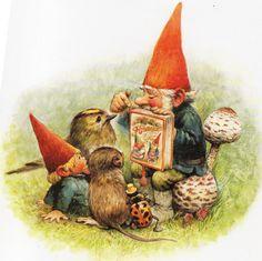 Vintage Art Print by Rien Poortvliet Gnome elf David 80s