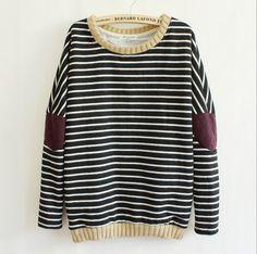 Fashion striped patch sweater