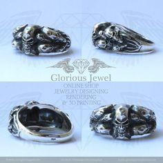 Glorious Biker Skull Ring / 925 silver / by GloriousJewelOnline