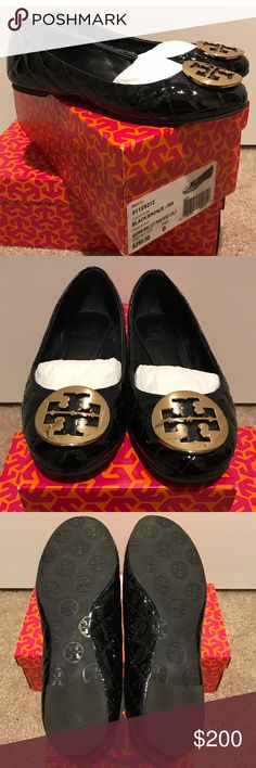 Tory Burch Reva Quilted Flats Rare... 100% Authentic Tory Burch Quilted Patent Leather Quinn Ballet Flats. Worn Three Times. Black with Gold Metal Hardware. Size 6. Tory Burch Shoes Flats & Loafers