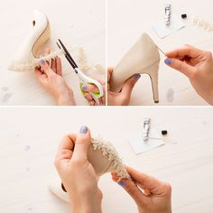 a74ee46b75 2 Quick + Easy DIY Ways to Customize Your Wedding Day Heels via Brit + Co