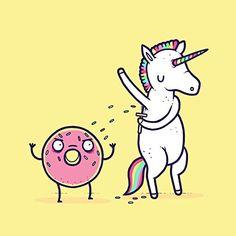 'How Donuts Get Sprinkles' Funny Unicorn Shaving Armpits Onto Doughnut 18x18 - Vinyl Print Poster