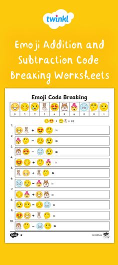 Use this set of differentiated code-breaking worksheets / worksheet with your Maths class to help them practice their addition and subtraction skills. Numeracy Activities, Subtraction Activities, Literacy And Numeracy, Classroom Activities, Addition Worksheets First Grade, Addition And Subtraction Worksheets, Coding For Kids, Math For Kids, Emoji Codes
