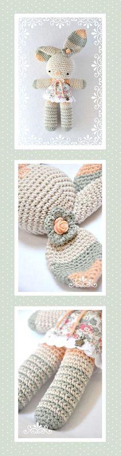 Chica Outlet - Conejita Emma - patrón gratuito use translator for English… Crochet Diy, Easter Crochet, Crochet Bunny, Crochet Patterns Amigurumi, Crochet Animals, Crochet For Kids, Crochet Crafts, Crochet Projects, Amigurumi Doll