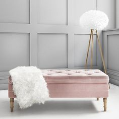 Safina Ottoman Storage Bench in Baby Pink Velvet with Button Detail Duck Egg Blue And Pink Bedroom, Duck Egg Blue Velvet, Pink Velvet, Baby Blue, Bedroom Ottoman, Ottoman Decor, Bedroom Benches, Bedroom Furniture, Bed Bench Storage