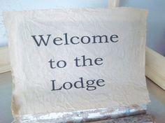 Lodge fabric panel handmade typography muslin by iwathd09 on Etsy, $6.50