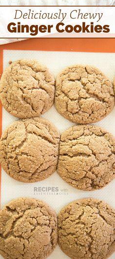 Homemade recipe for soft batch style Ginger Cookies | RecipesWithEssentialOils.com
