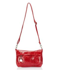 Look at this #zulilyfind! Bordeaux Distressed Leather Crossbody Bag #zulilyfinds