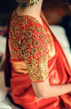 Silk Saree Blouse Designs - Red Pattu Saree Blouse With Golden Embroidery Wedding Saree Blouse Designs, Pattu Saree Blouse Designs, Blouse Designs Silk, Wedding Sarees, Golden Blouse Designs, Blouse Patterns, Bridal Lehenga, South Indian Blouse Designs, Latest Silk Sarees