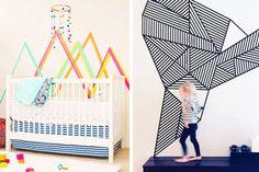15 insta-worthy washi tape wall ideas Washi Tape Wall, Diy Room Decor, Wall Decor, Woman Bedroom, Baby Boy Rooms, Diy Canvas, Playroom, Kids Room, Wall Ideas