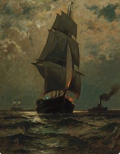 EDWARD MORAN American Moonlight Sail oil on canvas, signed lower left and dated 28 x 21 Drawings Pinterest, Old Sailing Ships, Positive Art, Art Folder, Tall Ships, Vintage Artwork, A4 Poster, Moonlight, Oil On Canvas