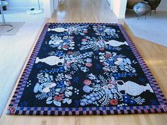 Collectible Susan Sargent Rug 6 X 9 Tufted Wool