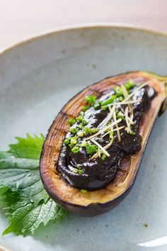 Creamy eggplant slathered with a sweet and savory hatcho miso glaze. Recipe for Japanese miso glazed eggplant, or nasu dengaku (なす田楽).