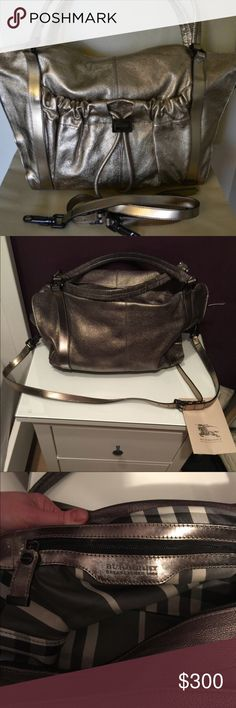 Burberry Warrior tote Burberry warrior tote in good condition. Few scratches on hardware but only noticeable up close. Reposh but original owner included Burberry tags. Beautiful metallic bronze color of leather. Burberry Bags