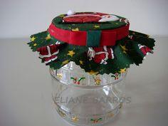 vidro reciclado com tampa trabalhada em patchwork embutido, por Eliane Barros