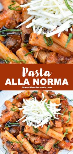 *NEW* Pasta Alla Norma is an authentic Italian meal of perfectly cooked pasta and a robust tomato-based sauce showered with rich shredded ricotta salata. #PastaAllaNorma #ItalianPastaRecipe #PastaRecipe Wheat Pasta Recipes, Italian Pasta Recipes, Best Italian Recipes, Favorite Recipes, Weeknight Meals, Easy Meals, Easy Recipes, Lemon Garlic Pasta, Pasta Dishes