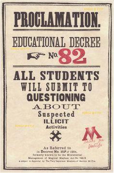 Proclamation of Educational degrees by Dolores Umbridge.