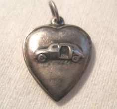 Vintage Sterling Silver Circa 1930's Old Time Car Puffy Heart Charm  2 of 5