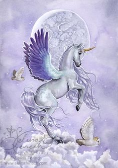 """i've always dreamed of flying horses! or unicorns in this case. """"Moonshine"""" by Selina Fenech"""