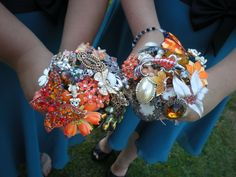 The bouquets at Sarah's wedding