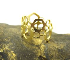 Gold hexagon Ring, Knuckle Ring, Geometric jewelry, Art deco Ring, Bridesmaids Gift, Gift for her, Under 40, Men's ring, Adjustable ring