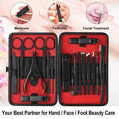 Nail Art Manicure Kit for Black Manicure, Manicure Colors, Manicure And Pedicure, Pedicure Set, Pedicure Tools, Steel Nails, Manicure At Home, Nail Art Tools, Facial Care