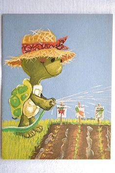 Vintage Greeting Card - Suzy's Zoo Turtle Gardener - 1975 - Early Suzy Zoo