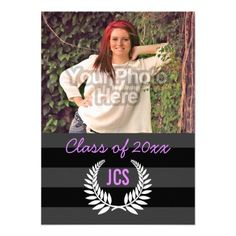 "Photo Graduation Monogram Black Purple Preppy 4.5"" X 6.25"" Invitation Card"