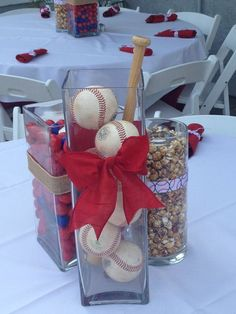 Ideas for sport party decorations centerpieces baseball table Softball Party, Baseball Birthday Party, Sports Party, Baseball Themed Baby Shower, Softball Wedding, Shower Bebe, Baby Boy Shower, Baseball Centerpiece, Baseball Decorations