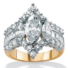 Tutone 18k over Sterling Silver Round, Marquise-Cut and Baguette DiamonUltra™ Cubic Zirconia Ring