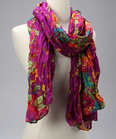Take a look at this Violet Wide Flower Scarf by Blue Pacific Fashion on #zulily today!