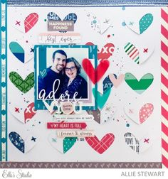 Adore You scrapbook layout by Allie Stewart for Elle's Studio