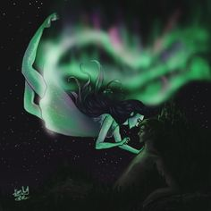 the aurora boreal is {by @the.flightless.artist on Instagram}
