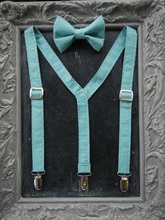 Boys Suspenders Bow Tie set Tiffany  Blue by bearandfoxdesigns, $25.00