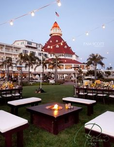 Hotel Del Coronado fire pit for the cool So. Calif evenings