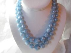 "LUCITE 1960'S PEARLY LIGHT BLUE DOUBLE STRAND GRADUATED ""BALL"" NECKLACE VINTAGE"