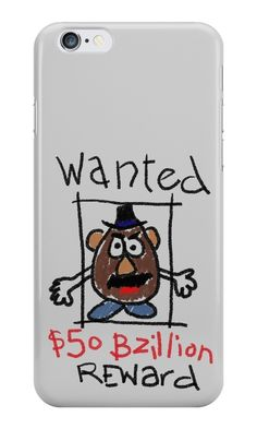 Our Mr Potato Head - Wanted Toy Story Phone Case is available online now for just £5.99.    Fan of Toy Story? You'll love our Mr Potato Head - Wanted Toy Story phone case, available for iPhone, iPod & Samsung models.    Material: Plastic, Production Method: Printed, Authenticity: Unofficial, Weight: 28g, Thickness: 12mm, Colour Sides: Clear, Compatible With: iPhone 4/4s | iPhone 5/5s/SE | iPhone 5c | iPhone 6/6s | iPhone 7 | iPod 4th/5th Generation | Galaxy S4 | Galaxy S5 | Galaxy S6 | Galax