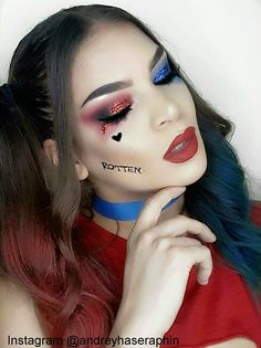 Makeup by @andreyhaseraphin in instagram Harley Quinn makeup