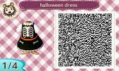 Halloween skeleton dress orange, black, white- animal crossing. Cute
